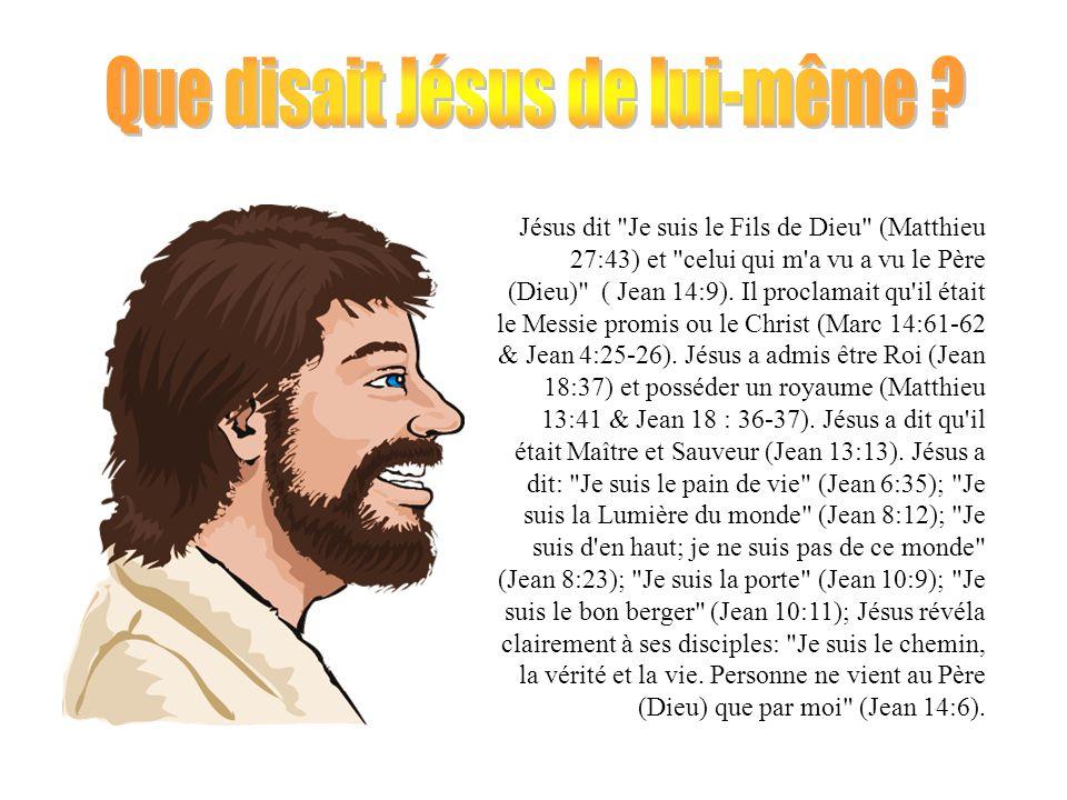 Jésus a dit à ses disciple de le croire lorsqu il leur certifia ceci: Je suis dans le Père, et le Père est en moi.