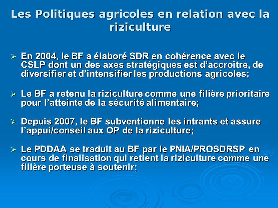 Les Politiques agricoles en relation avec la riziculture En 2004, le BF a élaboré SDR en cohérence avec le CSLP dont un des axes stratégiques est dacc