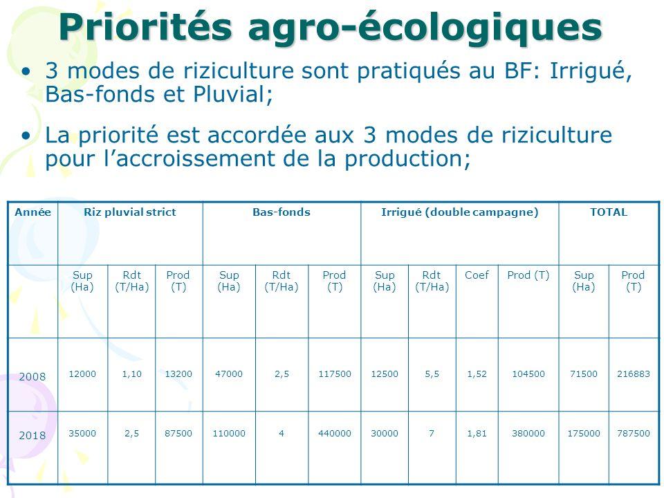 Priorités sous-sectorielles Ces priorités se résument en ces points: Accroissement des superficies exploitées et meilleure gestion des ressources en eau; Promotion et amélioration de lutilisation des semences améliorées, des fertilisants et produits phytosanitaires; Mécanisation de la riziculture (du travail de sol jusquau traitement post- récolte); Amélioration de la qualité du riz local par lutilisation de matériels et équipements de traitements post-récolte adéquats; Promotion de laccès du riz local au marché national et sous-régional; Promotion de laccès des acteurs aux crédits; Renforcement des capacités opérationnelles des acteurs de la filière; Recherche et diffusion des technologies innovantes de production du riz;