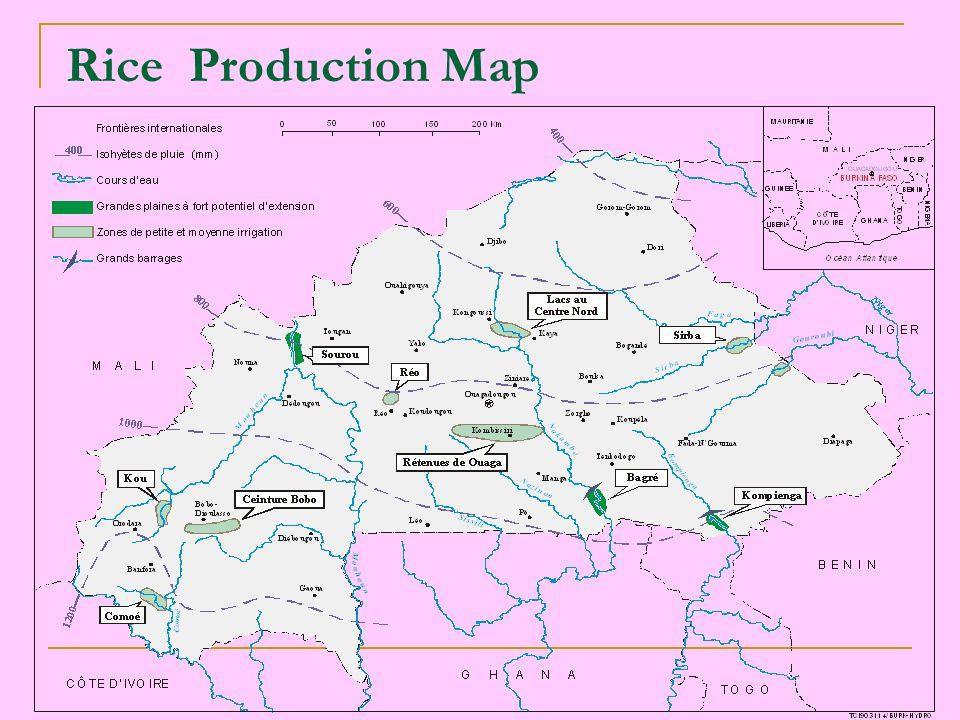 Priority agro-ecologies 3 modes de riziculture sont pratiqués au BF: Irrigué, Bas-fonds et Pluvial; Les 3 modes de riziculture sont prioritaires pour laccroissement de la production; AnnéeRiziculture de pluvialeRiziculture de Bas-fondsRiziculture Irriguée * (double campagne) TOTAL Sup (Ha) Rdt (T/Ha)Prod (T) Sup (Ha)Rdt (T/Ha) Prod (T) Sup (Ha) Rdt (T/Ha) CoefProd (T) Sup (Ha)Prod (T) 2008 12001.1213200470002.5117500125005.51.5210450 0 71500216883 2018 3500 0 2.58750011000044400003000071.8138000 0 175000787500
