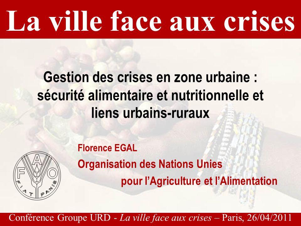 Conférence Groupe URD - La ville face aux crises – Paris, 26/04/2011 Linitiative pluri-disciplinaire « Des aliments pour les villes » R www.fao.org/fcit food-for-cities@dgroups.org...depuis environ 15 ans