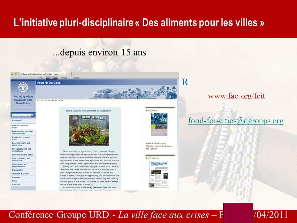 Conférence Groupe URD - La ville face aux crises – Paris, 26/04/2011 Projets de la FAO avec une composante urbaine
