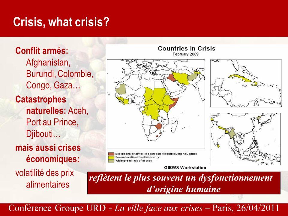 Conférence Groupe URD - La ville face aux crises – Paris, 26/04/2011 Crisis, what crisis.