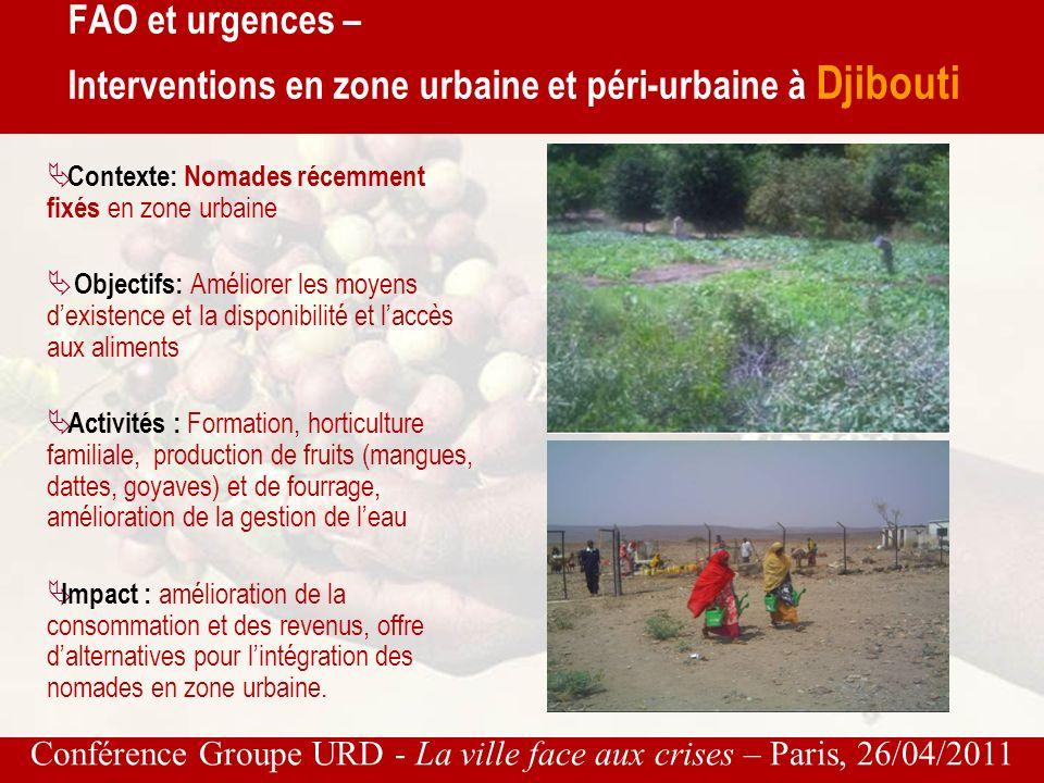 Conférence Groupe URD - La ville face aux crises – Paris, 26/04/2011 Mise en œuvre de projets durgence et de réhabilitation en horticulture dans les zones urbaines et périurbaines de Ouagadougou au profit des ménages victimes des inondations du 1er septembre 2009 FAO et urgences – Interventions en zone urbaine et péri-urbaine au Burkina Faso
