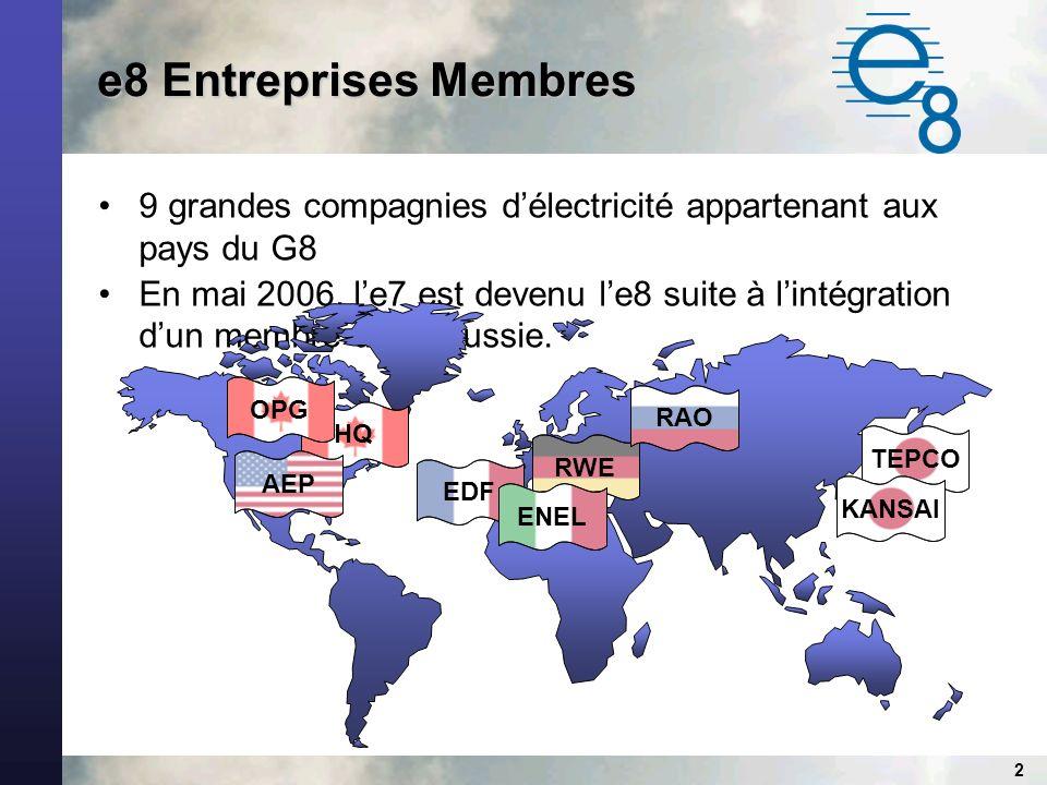2 e8 Entreprises Membres 9 grandes compagnies délectricité appartenant aux pays du G8 En mai 2006, le7 est devenu le8 suite à lintégration dun membre de la Russie.