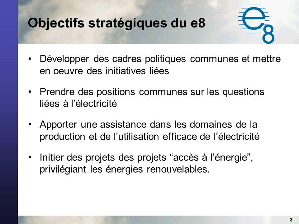 3 Objectifs stratégiques du e8 Développer des cadres politiques communes et mettre en oeuvre des initiatives liées Prendre des positions communes sur les questions liées à lélectricité Apporter une assistance dans les domaines de la production et de lutilisation efficace de lélectricité Initier des projets des projets accès à lénergie, privilégiant les énergies renouvelables.