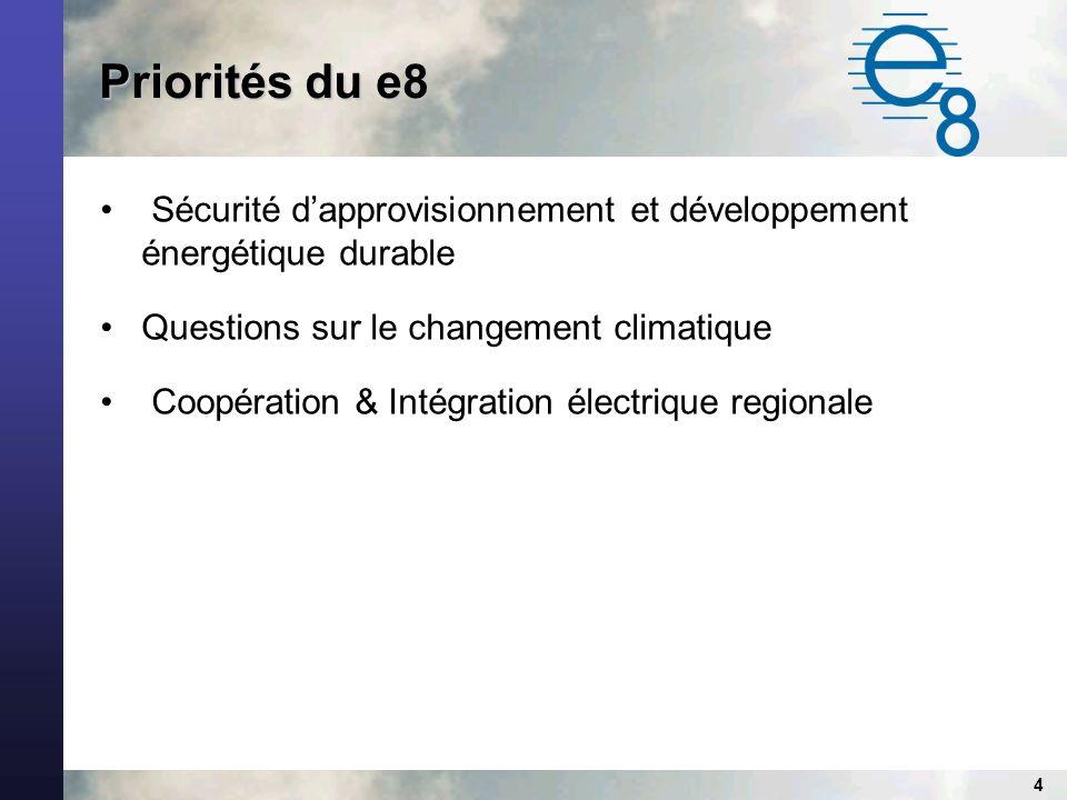 4 Priorités du e8 Sécurité dapprovisionnement et développement énergétique durable Questions sur le changement climatique Coopération & Intégration électrique regionale