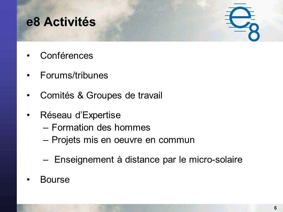 6 e8 Activités Conférences Forums/tribunes Comités & Groupes de travail Réseau dExpertise –Formation des hommes –Projets mis en oeuvre en commun – Enseignement à distance par le micro-solaire Bourse