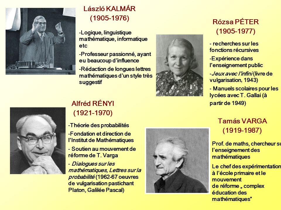 László KALMÁR (1905-1976) Rózsa PÉTER (1905-1977) Alfréd RÉNYI (1921-1970) Tamás VARGA (1919-1987) -Logique, linguistique mathématique, informatique e