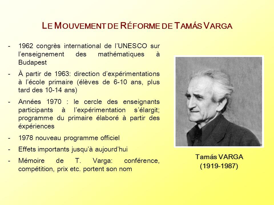 L E M OUVEMENT DE R ÉFORME DE T AMÁS V ARGA -1962 congrès international de lUNESCO sur lenseignement des mathématiques à Budapest -À partir de 1963: d