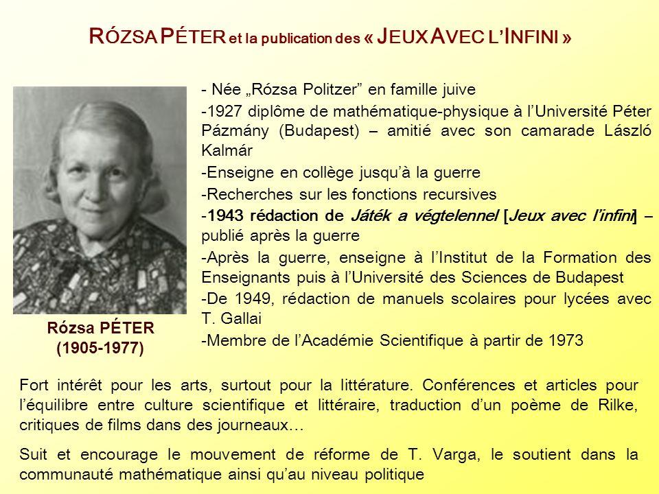R ÓZSA P ÉTER et la publication des « J EUX A VEC L I NFINI » - Née Rózsa Politzer en famille juive -1927 diplôme de mathématique-physique à lUniversi