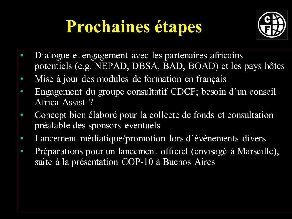 Prochaines étapes Dialogue et engagement avec les partenaires africains potentiels (e.g.