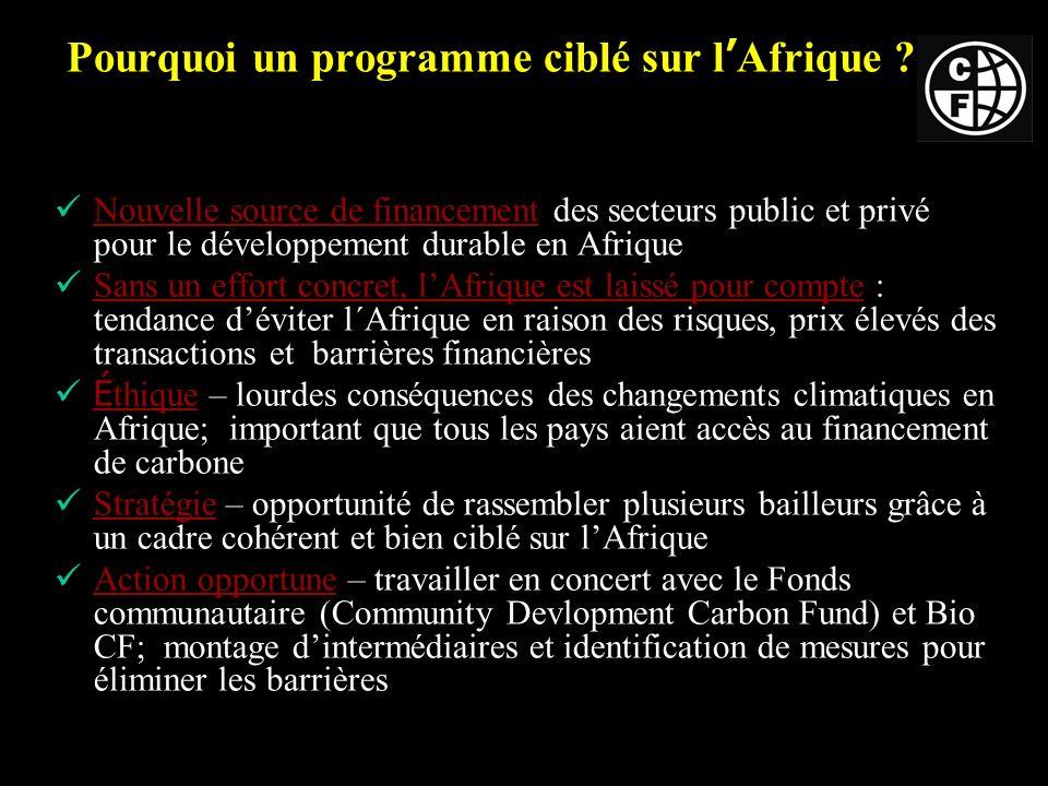 Pourquoi un programme ciblé sur l Afrique .