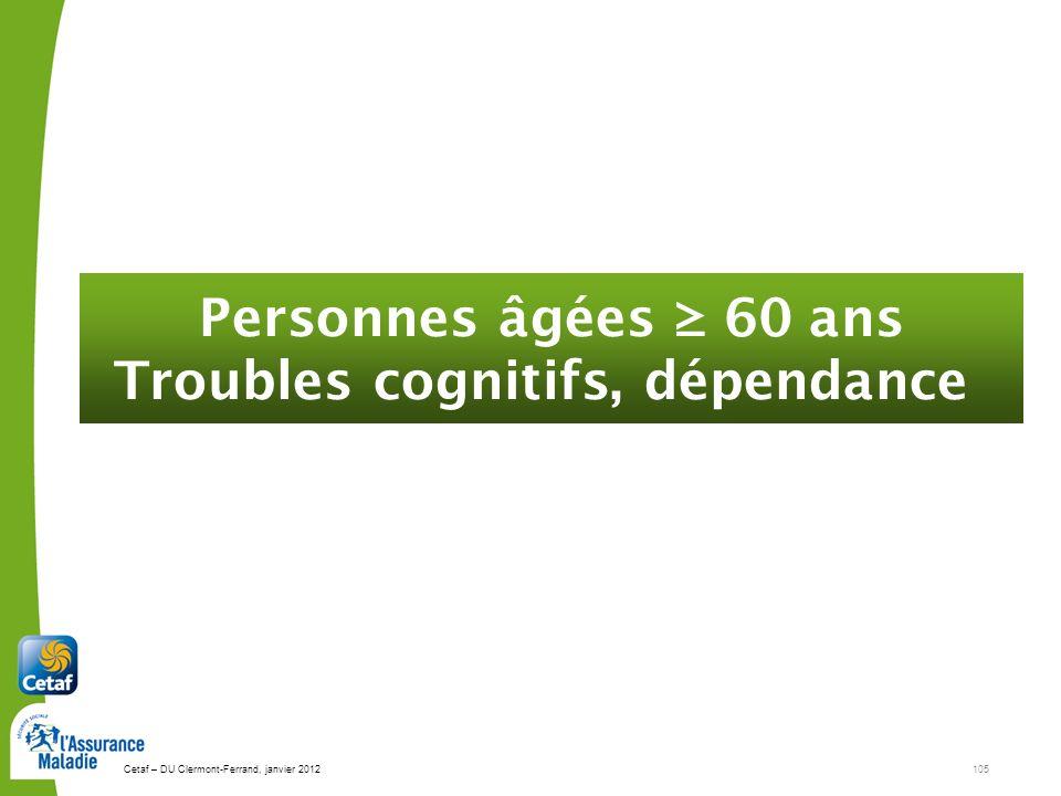 Cetaf – DU Clermont-Ferrand, janvier 2012105 Personnes âgées 60 ans Troubles cognitifs, dépendance