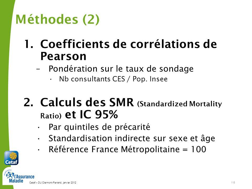 Cetaf – DU Clermont-Ferrand, janvier 2012115 Méthodes (2) 1.Coefficients de corrélations de Pearson –Pondération sur le taux de sondage Nb consultants CES / Pop.