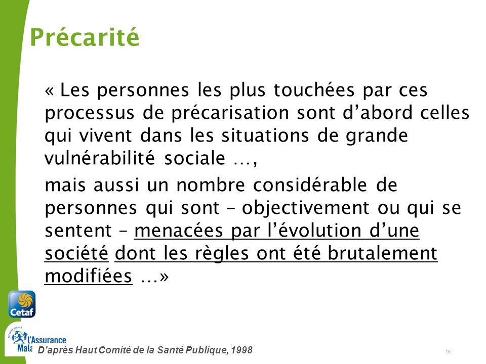 Cetaf – DU Clermont-Ferrand, janvier 201216 16 « Les personnes les plus touchées par ces processus de précarisation sont dabord celles qui vivent dans