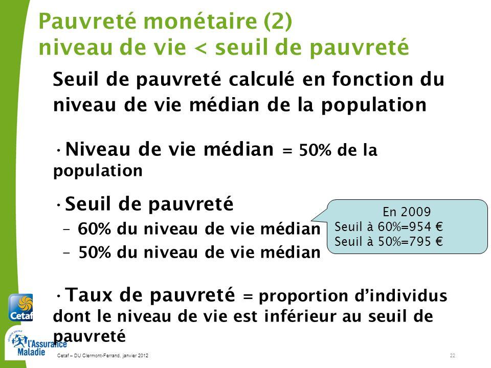 Cetaf – DU Clermont-Ferrand, janvier 201222 22 Pauvreté monétaire (2) niveau de vie < seuil de pauvreté Seuil de pauvreté calculé en fonction du niveau de vie médian de la population Niveau de vie médian = 50% de la population Seuil de pauvreté –60% du niveau de vie médian –50% du niveau de vie médian Taux de pauvreté = proportion dindividus dont le niveau de vie est inférieur au seuil de pauvreté En 2009 Seuil à 60%=954 Seuil à 50%=795