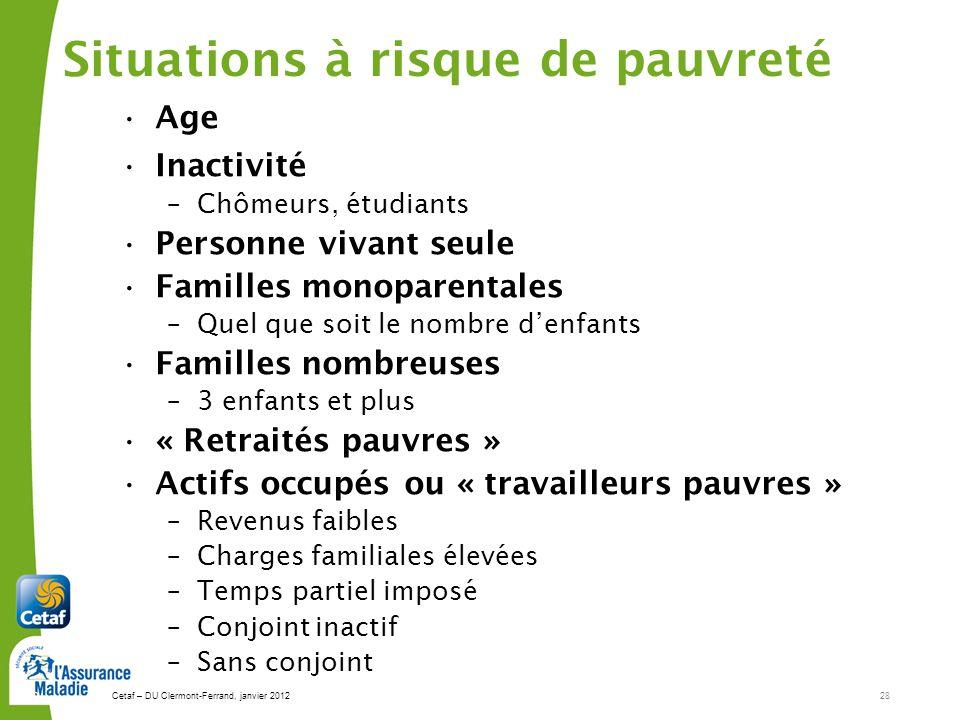 Cetaf – DU Clermont-Ferrand, janvier 201228 28 Situations à risque de pauvreté Age Inactivité –Chômeurs, étudiants Personne vivant seule Familles mono