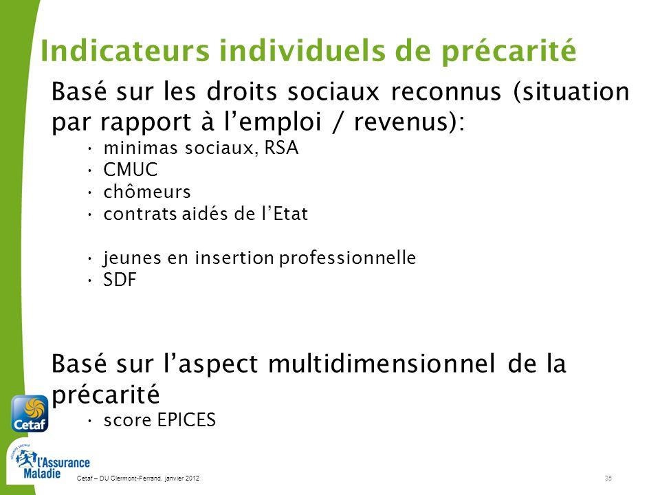 Cetaf – DU Clermont-Ferrand, janvier 201235 Basé sur les droits sociaux reconnus (situation par rapport à lemploi / revenus): minimas sociaux, RSA CMU
