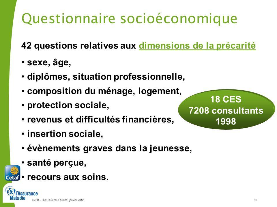 Cetaf – DU Clermont-Ferrand, janvier 201243 42 questions relatives aux dimensions de la précarité sexe, âge, diplômes, situation professionnelle, comp