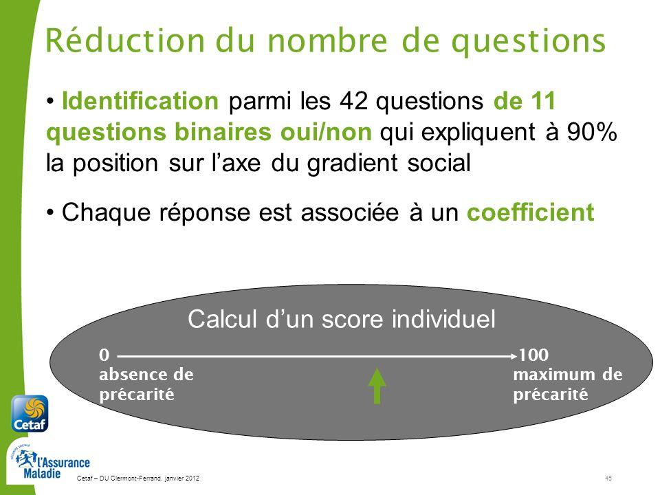 Cetaf – DU Clermont-Ferrand, janvier 201245 Réduction du nombre de questions Calcul dun score individuel Identification parmi les 42 questions de 11 q