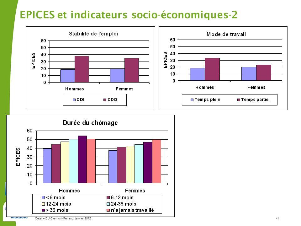 Cetaf – DU Clermont-Ferrand, janvier 201249 EPICES et indicateurs socio-économiques-2
