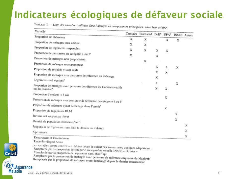 Cetaf – DU Clermont-Ferrand, janvier 201257 Indicateurs écologiques de défaveur sociale