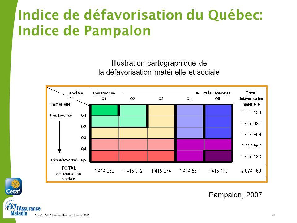 Cetaf – DU Clermont-Ferrand, janvier 201261 61 Illustration cartographique de la défavorisation matérielle et sociale L indice couvre 98% de la popula