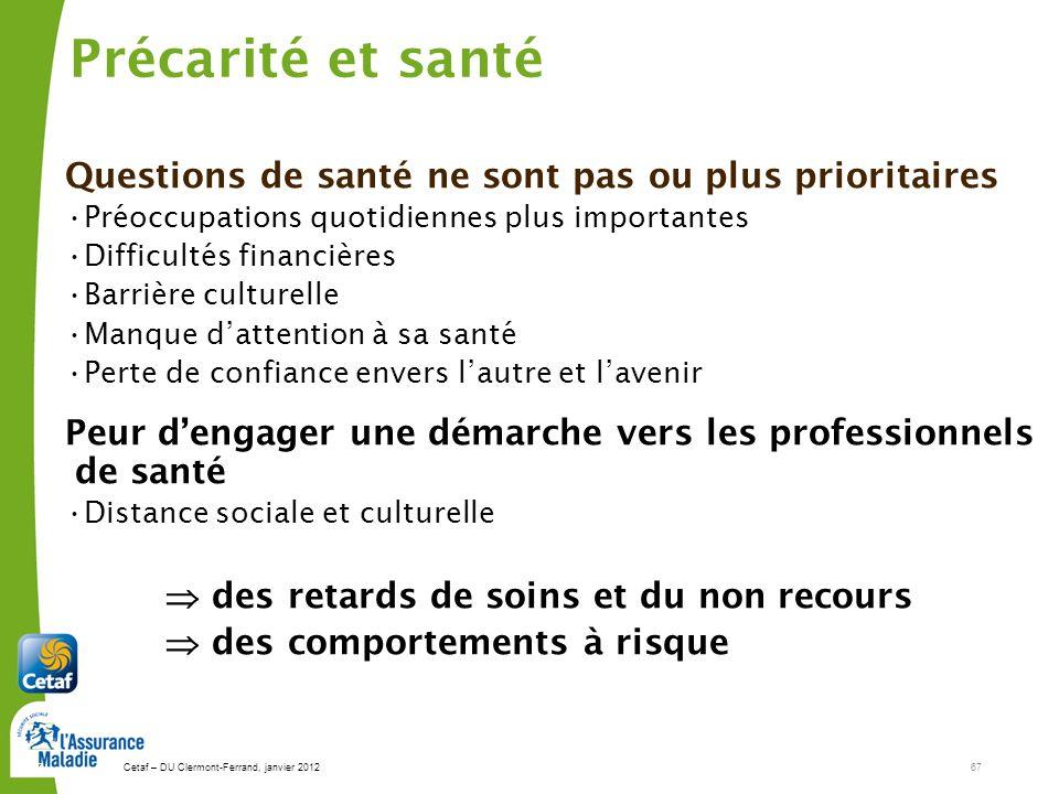 Cetaf – DU Clermont-Ferrand, janvier 201267 67 Précarité et santé Questions de santé ne sont pas ou plus prioritaires Préoccupations quotidiennes plus