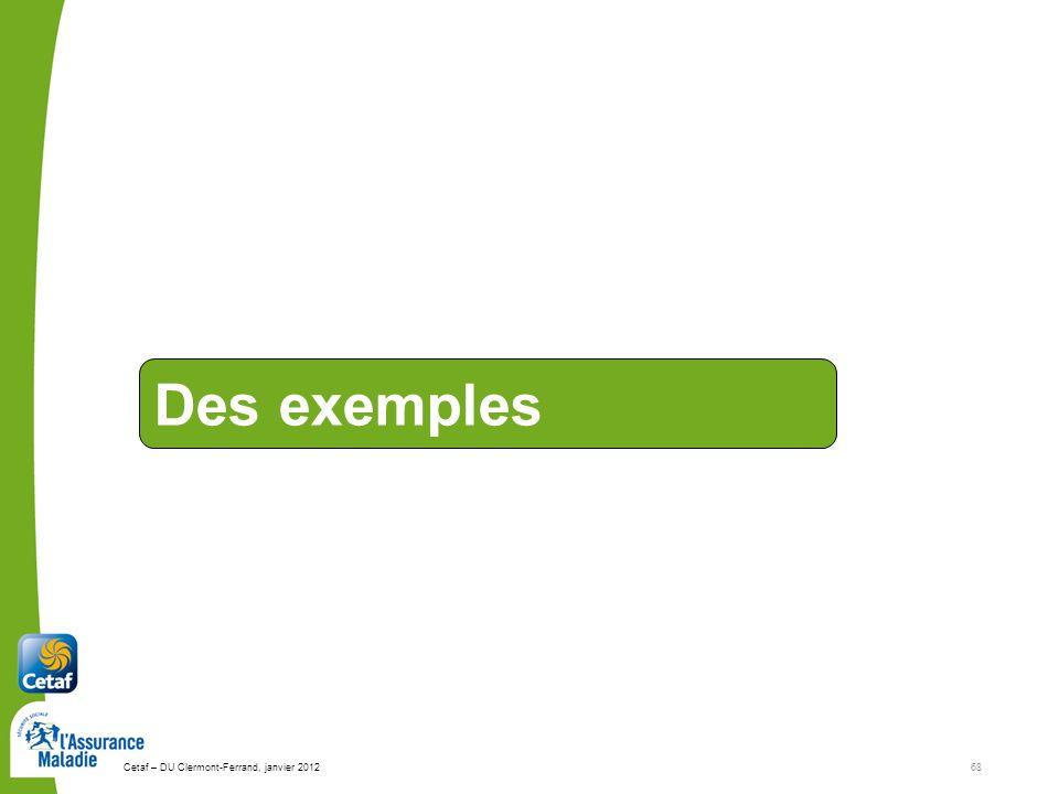 Cetaf – DU Clermont-Ferrand, janvier 201268 Des exemples