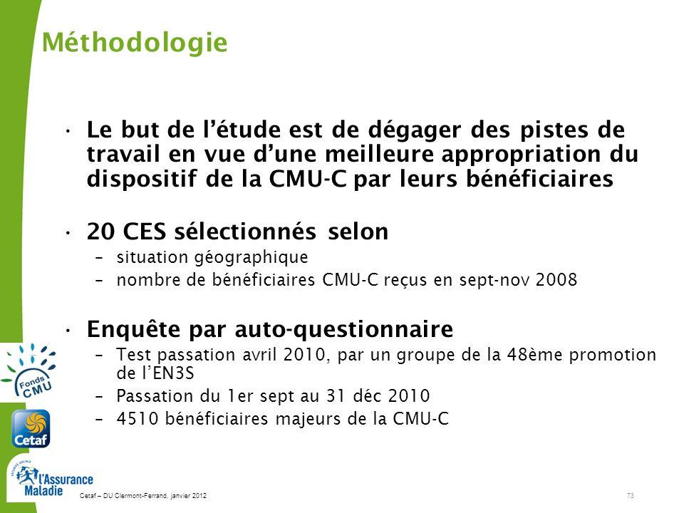 Cetaf – DU Clermont-Ferrand, janvier 201273 Méthodologie Le but de létude est de dégager des pistes de travail en vue dune meilleure appropriation du
