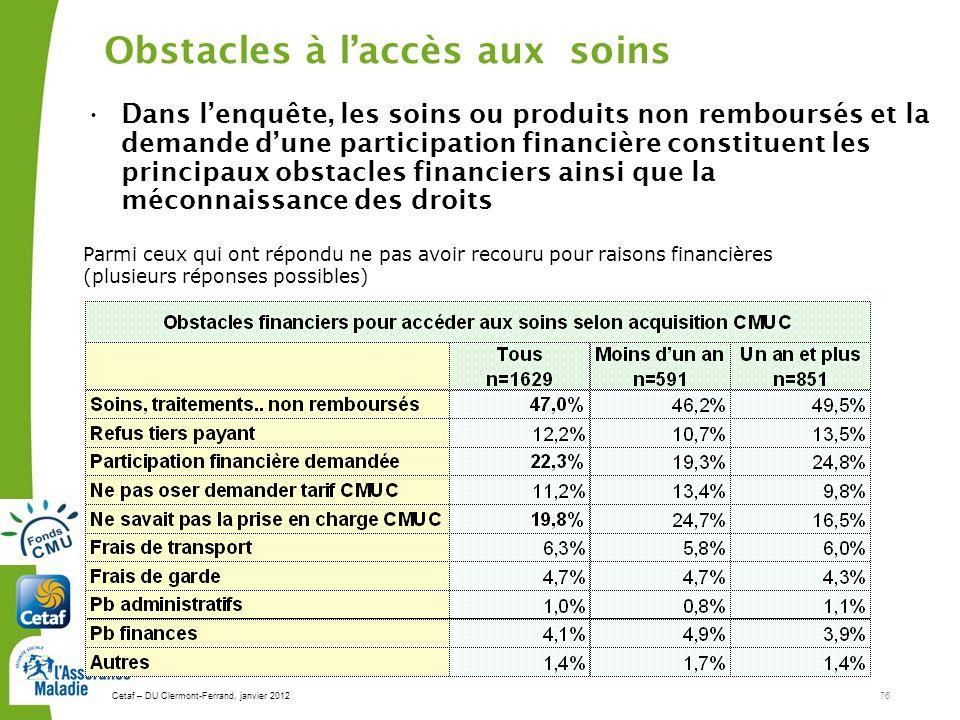 Cetaf – DU Clermont-Ferrand, janvier 201276 Obstacles à laccès aux soins Dans lenquête, les soins ou produits non remboursés et la demande dune partic