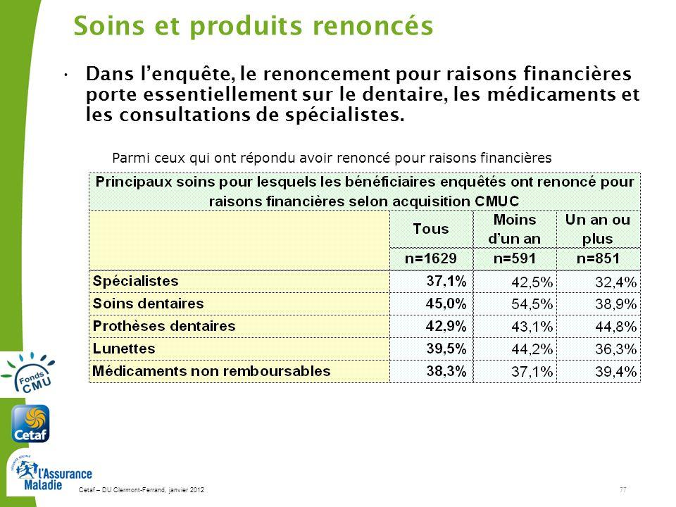 Cetaf – DU Clermont-Ferrand, janvier 201277 Soins et produits renoncés Dans lenquête, le renoncement pour raisons financières porte essentiellement sur le dentaire, les médicaments et les consultations de spécialistes.