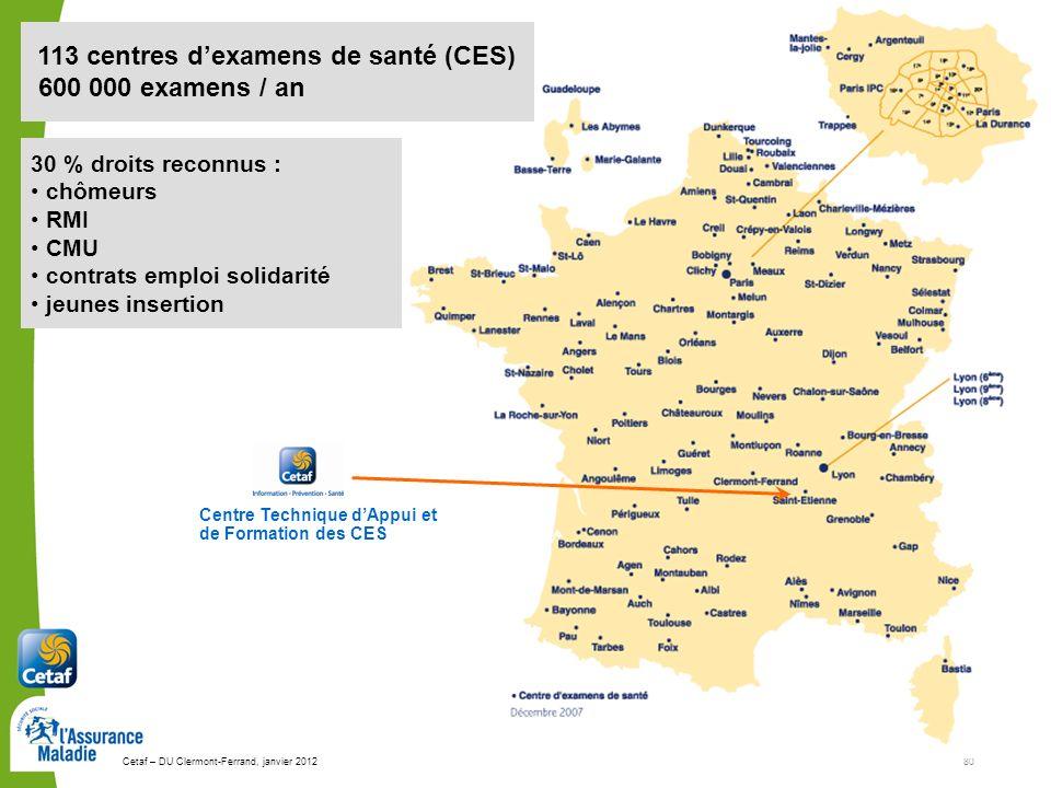 Cetaf – DU Clermont-Ferrand, janvier 201280 113 centres dexamens de santé (CES) 600 000 examens / an Centre Technique dAppui et de Formation des CES 3