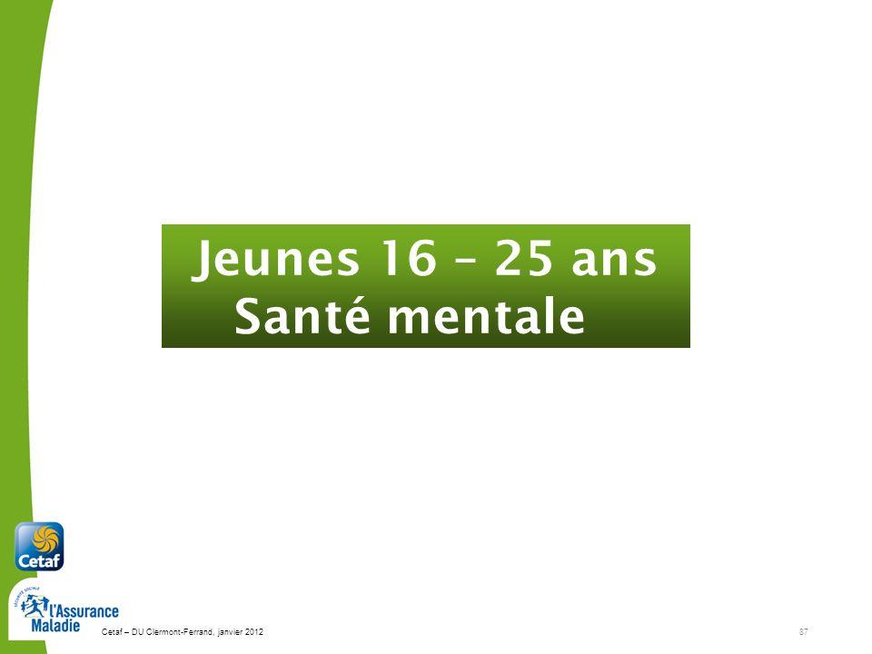 Cetaf – DU Clermont-Ferrand, janvier 201287 Jeunes 16 – 25 ans Santé mentale