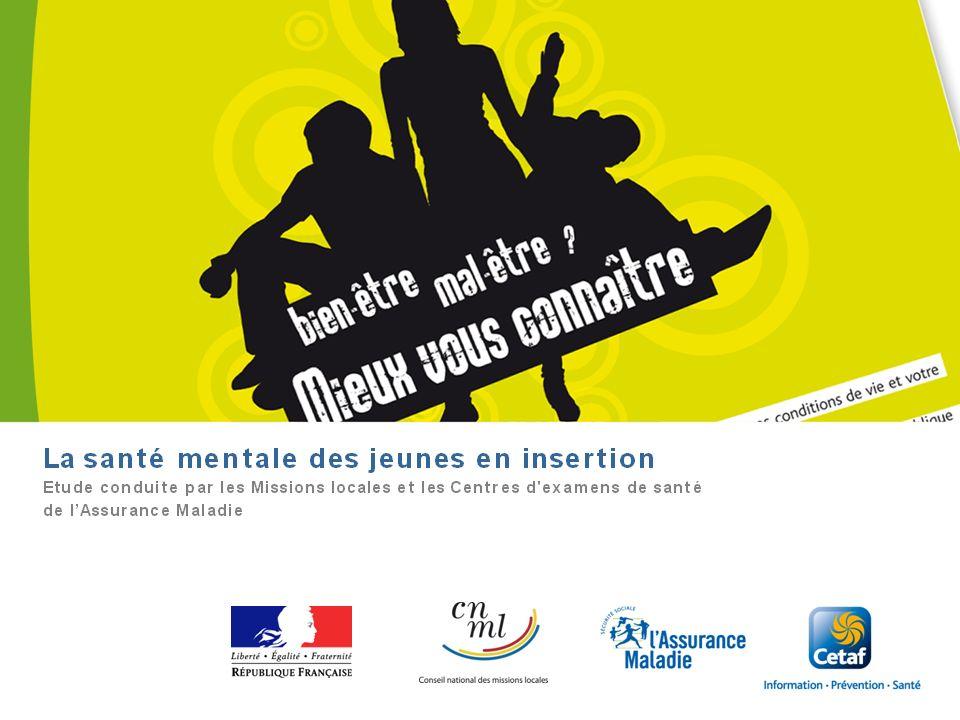 Cetaf – DU Clermont-Ferrand, janvier 201288 La santé mentale des jeunes en insertion Etude expérimentale conduite par les Missions locales pour lemplo