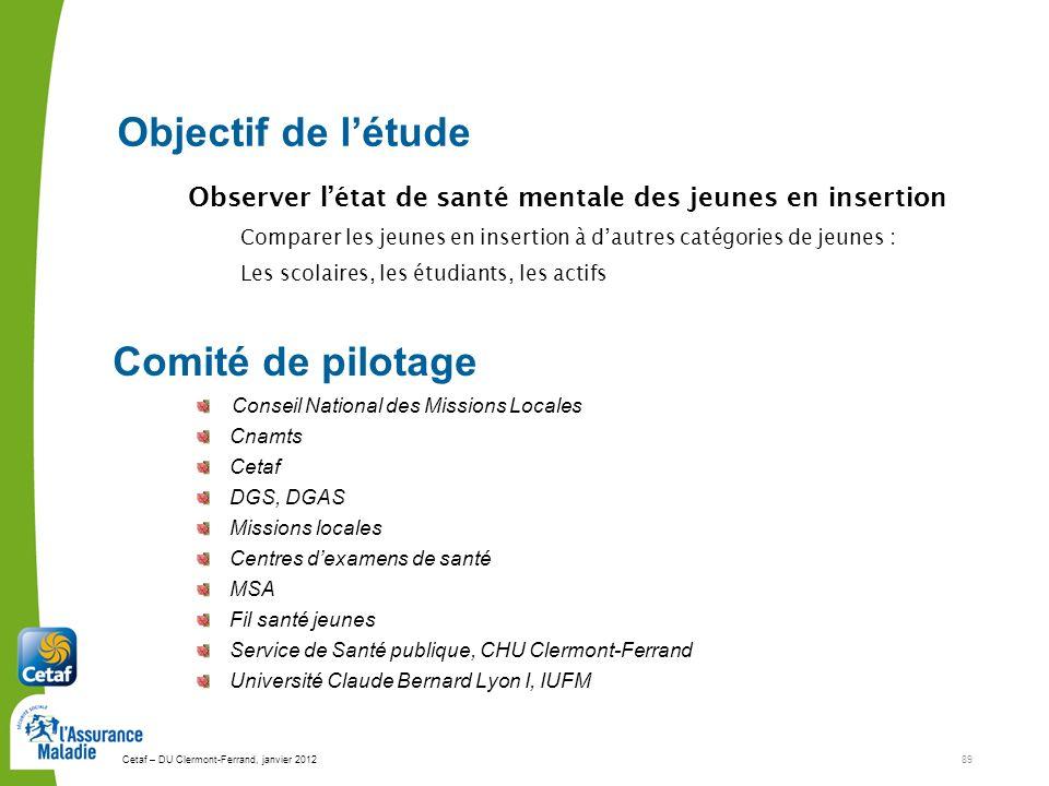 Cetaf – DU Clermont-Ferrand, janvier 201289 Conseil National des Missions Locales Cnamts Cetaf DGS, DGAS Missions locales Centres dexamens de santé MS