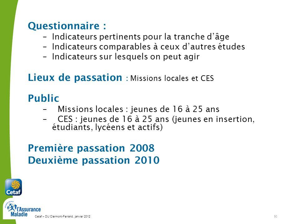 Cetaf – DU Clermont-Ferrand, janvier 201290 Questionnaire : –Indicateurs pertinents pour la tranche dâge –Indicateurs comparables à ceux dautres étude