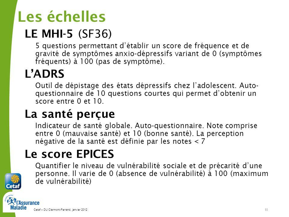 Cetaf – DU Clermont-Ferrand, janvier 201293 Les échelles LE MHI-5 (SF36) 5 questions permettant détablir un score de fréquence et de gravité de symptômes anxio-dépressifs variant de 0 (symptômes fréquents) à 100 (pas de symptôme).
