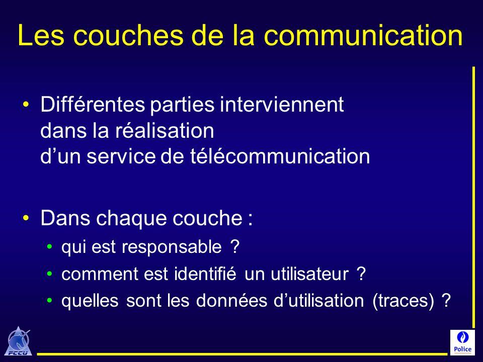 Les couches de la communication Différentes parties interviennent dans la réalisation dun service de télécommunication Dans chaque couche : qui est re