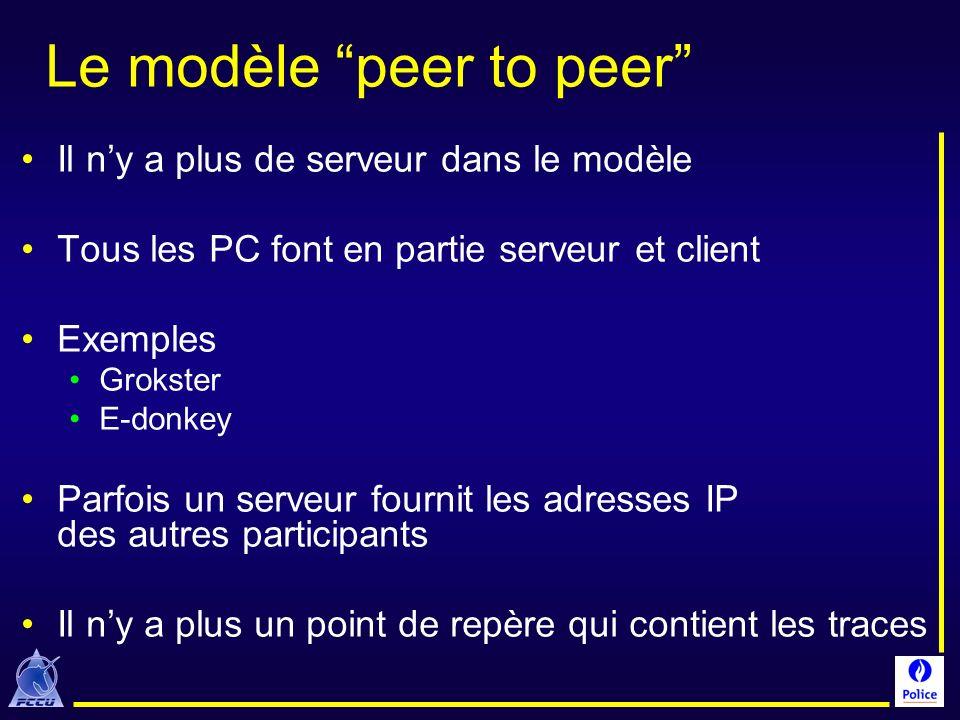 Le modèle peer to peer Il ny a plus de serveur dans le modèle Tous les PC font en partie serveur et client Exemples Grokster E-donkey Parfois un serve