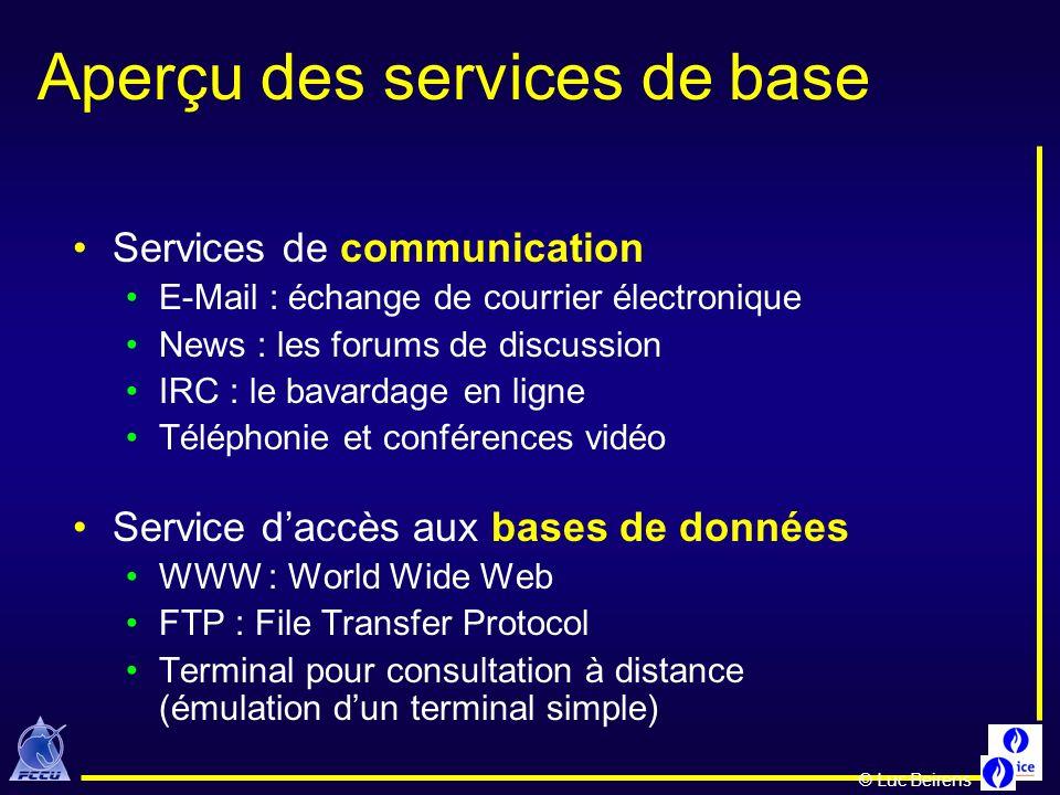 Aperçu des services de base Services de communication E-Mail : échange de courrier électronique News : les forums de discussion IRC : le bavardage en
