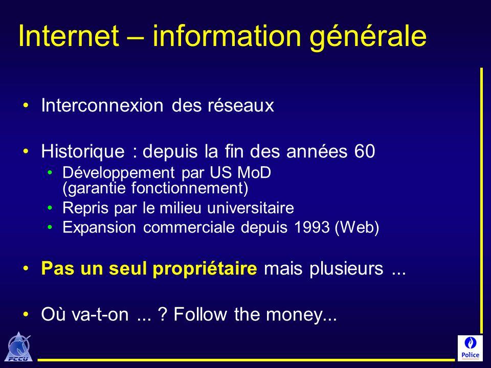 Internet – information générale Interconnexion des réseaux Historique : depuis la fin des années 60 Développement par US MoD (garantie fonctionnement)