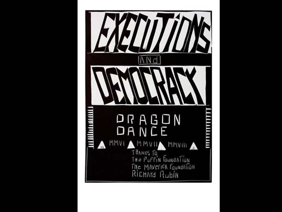 Exécutions et démocratie Une série de 20 linogravures par Sam Kerson, imprimées par Katah Nous travaillons sur ce projet depuis 2006, lorsque nous avons commencé à chercher sur Google des informations à propos des « exécutions dinnocents ».