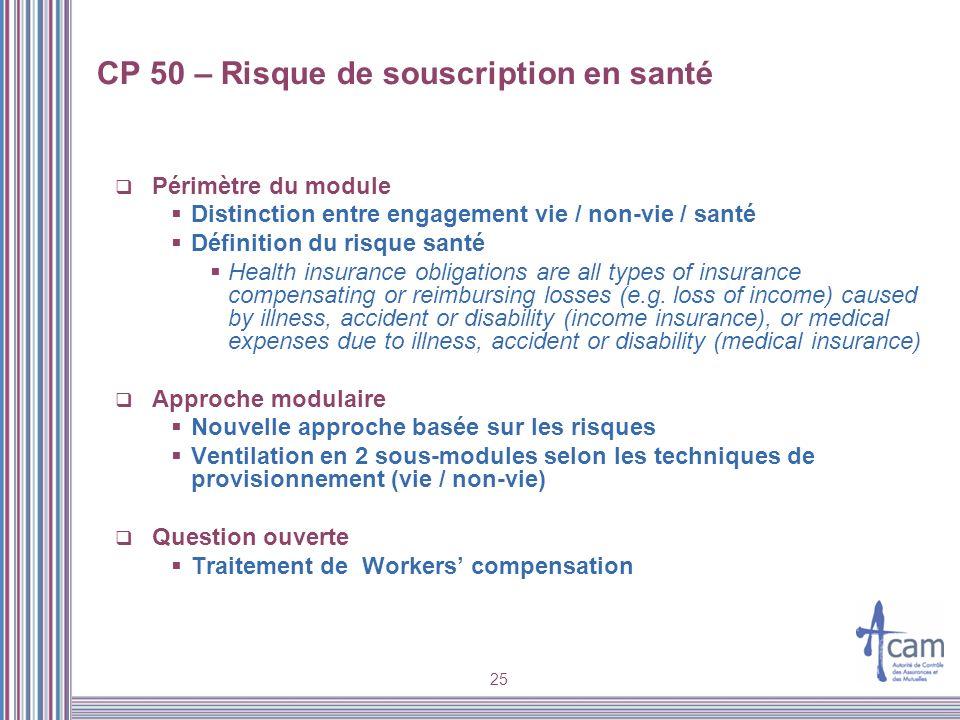 25 CP 50 – Risque de souscription en santé Périmètre du module Distinction entre engagement vie / non-vie / santé Définition du risque santé Health in