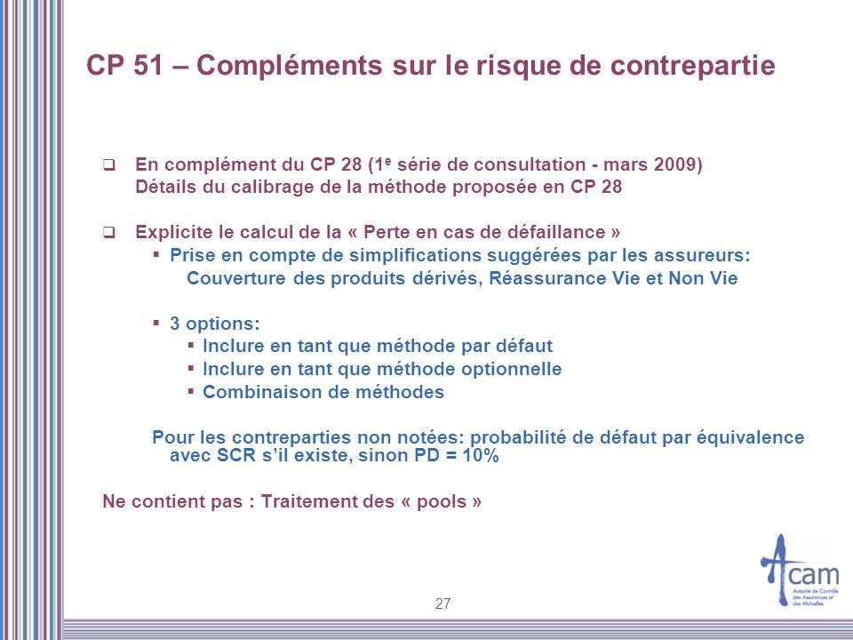 27 CP 51 – Compléments sur le risque de contrepartie En complément du CP 28 (1 e série de consultation - mars 2009) Détails du calibrage de la méthode