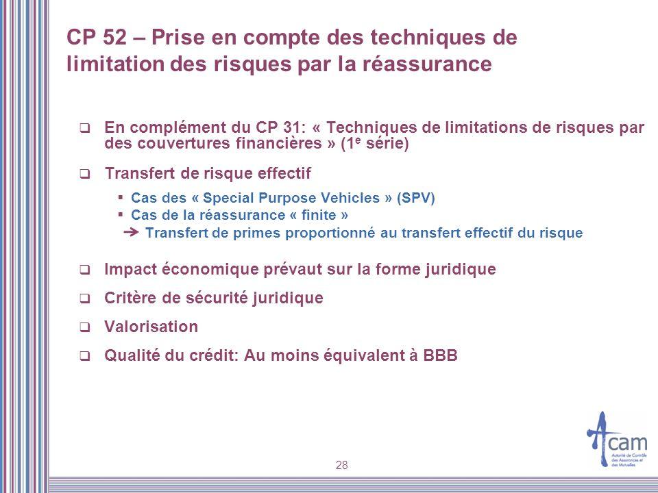 28 CP 52 – Prise en compte des techniques de limitation des risques par la réassurance En complément du CP 31: « Techniques de limitations de risques