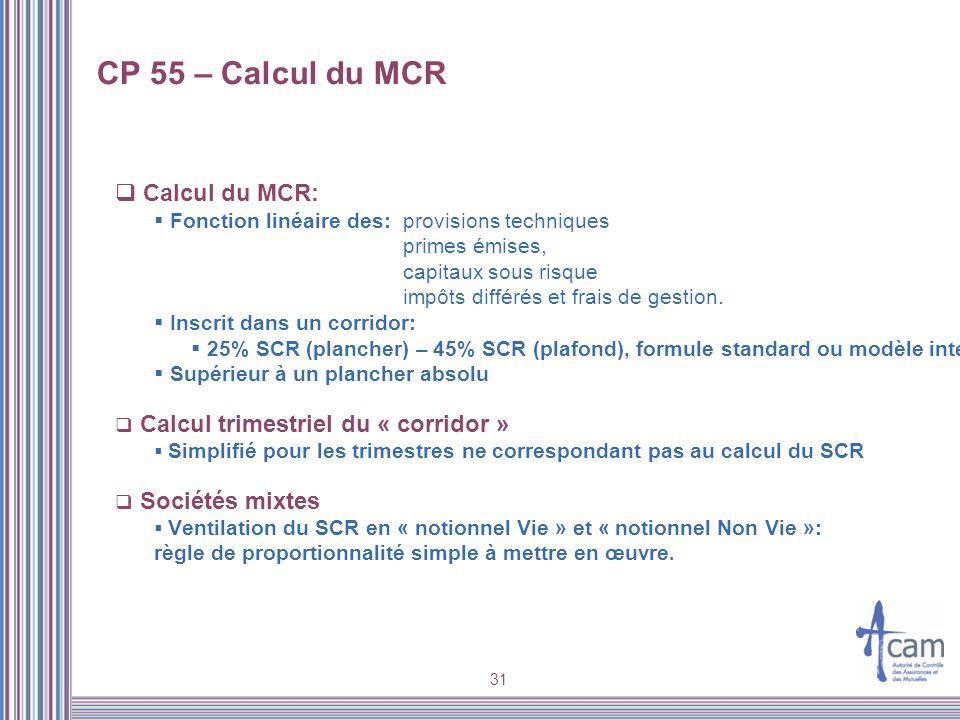 31 CP 55 – Calcul du MCR Calcul du MCR: Fonction linéaire des:provisions techniques primes émises, capitaux sous risque impôts différés et frais de ge