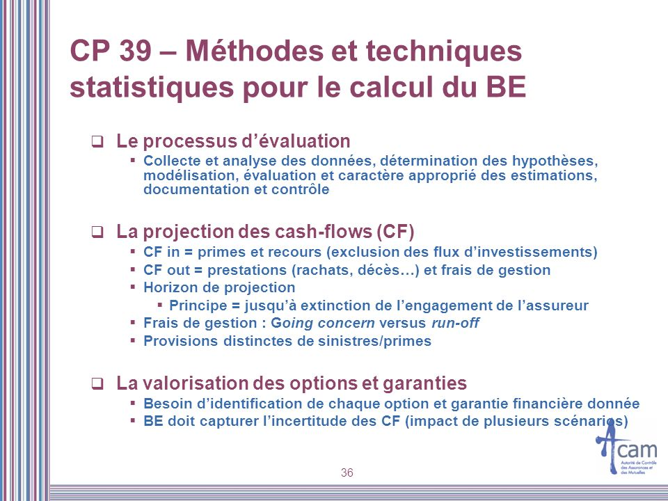 36 CP 39 – Méthodes et techniques statistiques pour le calcul du BE Le processus dévaluation Collecte et analyse des données, détermination des hypoth
