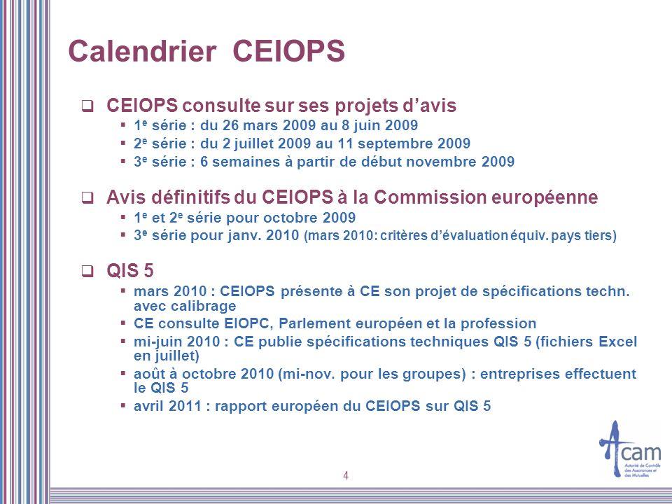 4 Calendrier CEIOPS CEIOPS consulte sur ses projets davis 1 e série : du 26 mars 2009 au 8 juin 2009 2 e série : du 2 juillet 2009 au 11 septembre 200